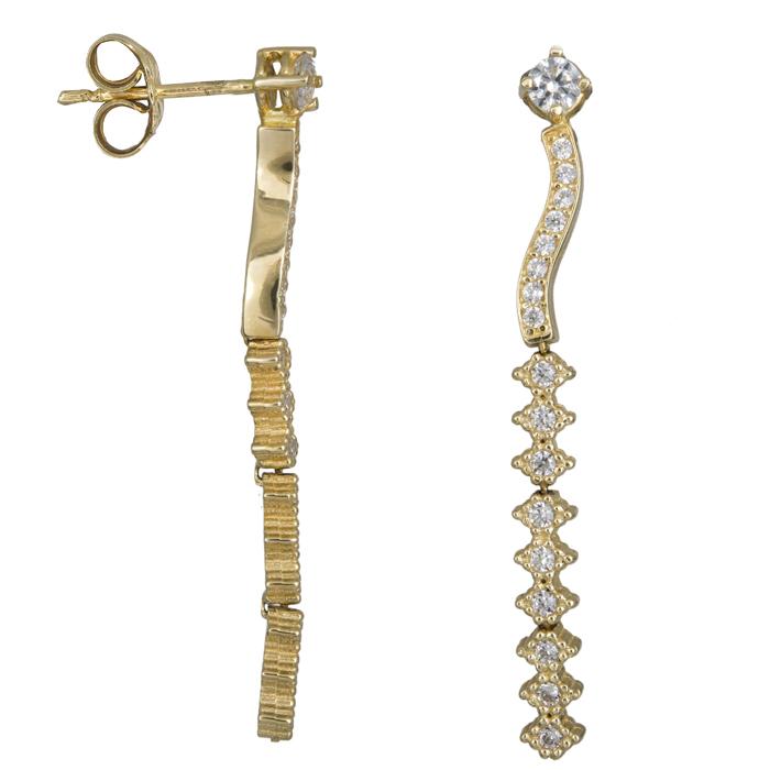 Χρυσά σκουλαρίκια σειρέ με κύμα 14Κ 023899 023899 Χρυσός 14 Καράτια