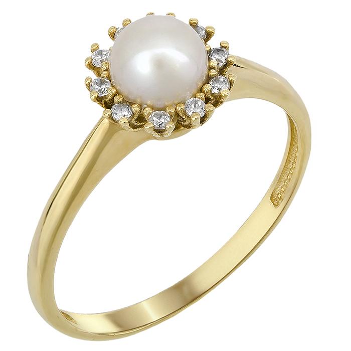 Χρυσό δαχτυλίδι με μαργαριτάρι σε ροζέτα Κ14 023900 023900 Χρυσός 14 Καράτια