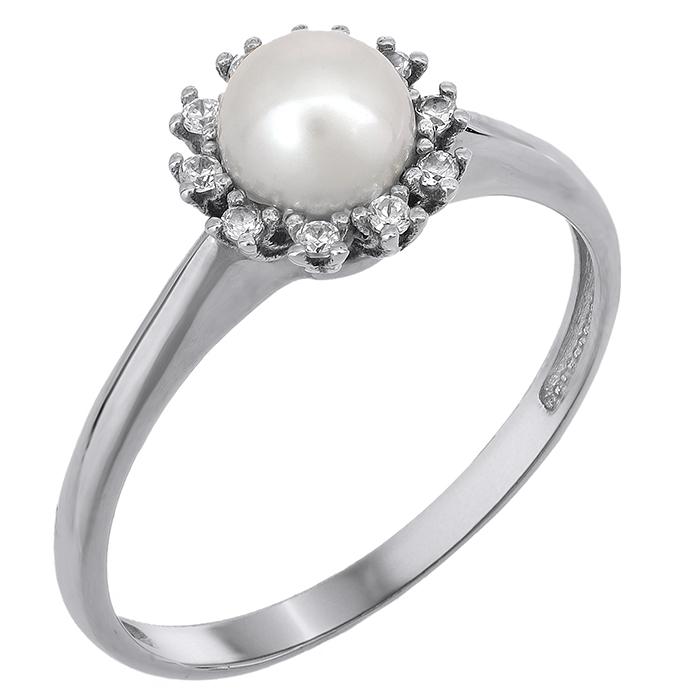 Λευκόχρυσο δαχτυλίδι με μαργαριτάρι σε ροζέτα Κ14 023901 023901 Χρυσός 14 Καράτια