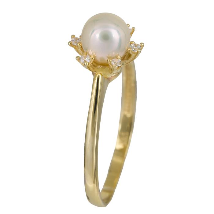 Δαχτυλίδι με μαργαριτάρι σε ροζέτα εξάπετρη χρυσό Κ14 023904 023904 Χρυσός 14 Καράτια
