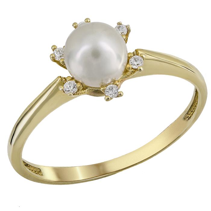 Δαχτυλίδι με μαργαριτάρι σε ροζέτα εξάπετρη χρυσό Κ14 023904 023904 Χρυσός 14  Καράτια f9eacf4996a