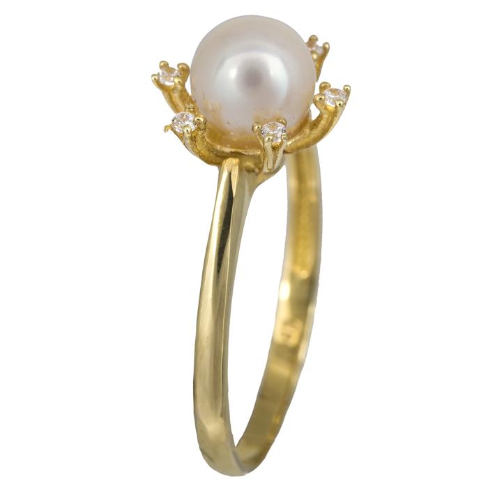 Χρυσό δαχτυλίδι με μαργαριτάρι σε ροζέτα εξάπετρη Κ14 023906 023906 Χρυσός 14 Καράτια