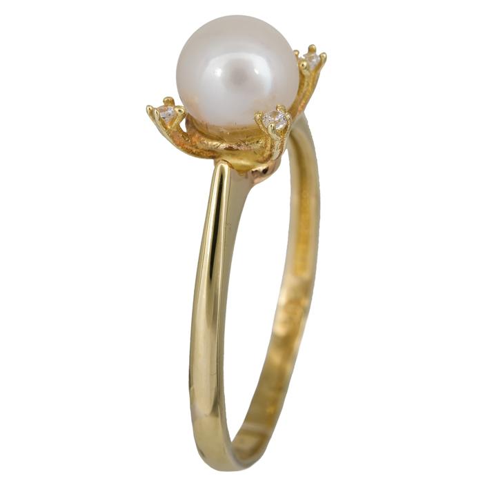 Χρυσό δαχτυλίδι με μαργαριτάρι σε ροζέτα τετράπετρη Κ14 023909 023909  Χρυσός 14 Καράτια 8e3c6a4307d