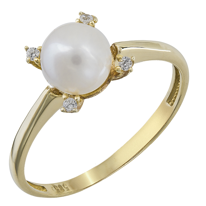 Kosmima24 Χρυσό δαχτυλίδι με μαργαριτάρι σε ροζέτα τετράπετρη Κ14 023909  023909 Χρυσός 14 Καράτια 0d241973a2f