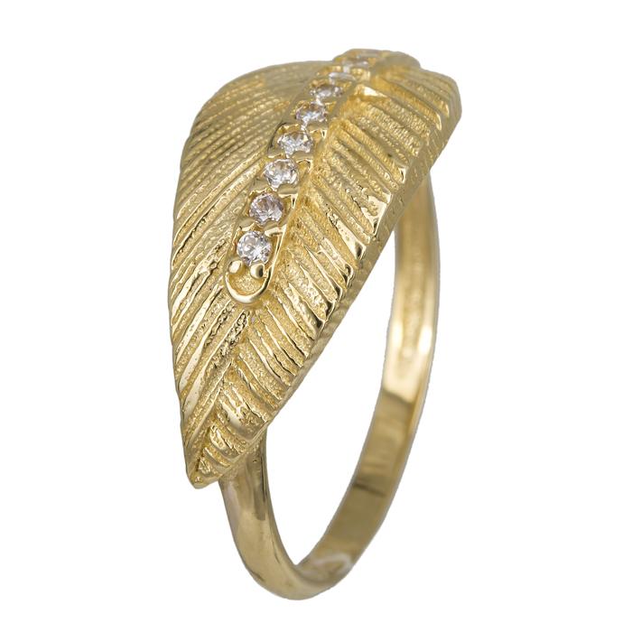 Χρυσό δαχτυλίδι φύλλο με ζιργκόν Κ14 023912 023912 Χρυσός 14 Καράτια