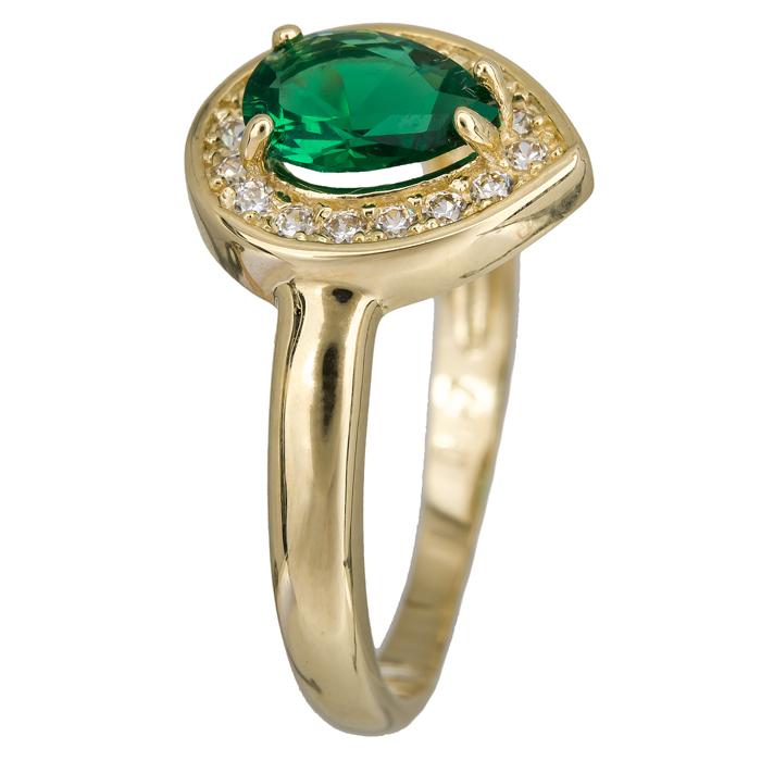 Χρυσό δαχτυλίδι δάκρυ πράσινη 14Κ 023916 023916 Χρυσός 14 Καράτια