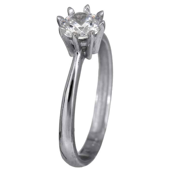Λευκόχρυσο μονόπετρο δαχτυλίδι οχτάδοντο 14Κ 023918 023918 Χρυσός 14 Καράτια