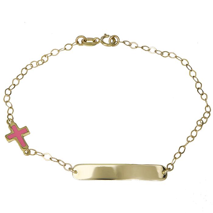 Παιδική ταυτότητα με σταυρό για κορίτσι Κ9 023925 023925 Χρυσός 9 Καράτια