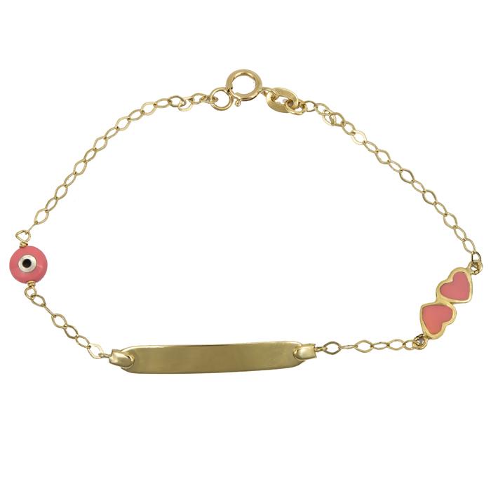 Παιδική ταυτότητα με καρδιές για κορίτσι Κ9 023931 023931 Χρυσός 9 Καράτια παιδικά κοσμήματα ταυτότητες