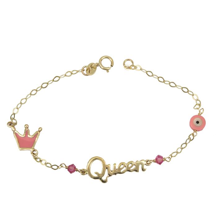 Χρυσό παιδικό βραχιόλι Queen για κορίτσι Κ9 023942 023942 Χρυσός 9 Καράτια