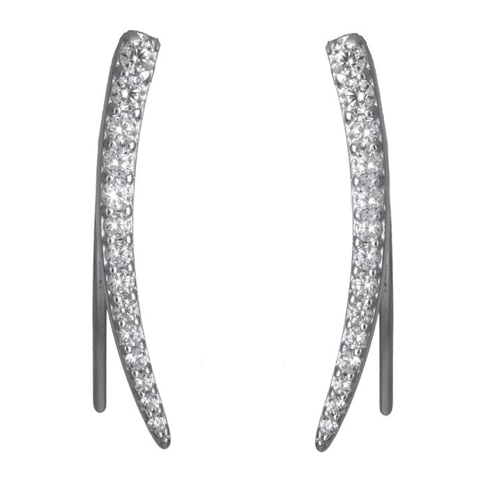 Λευκόχρυσα σκουλαρίκια 14Κ με ζιργκόν 024078 024078 Χρυσός 14 Καράτια