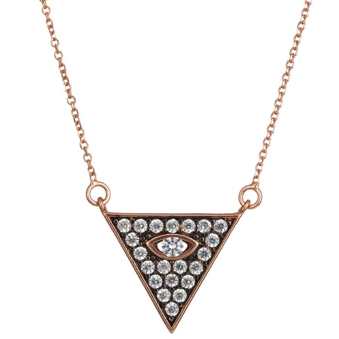 Ροζ gold κολιέ τρίγωνο με μάτι 9 Κ 024085 024085 Χρυσός 9 Καράτια