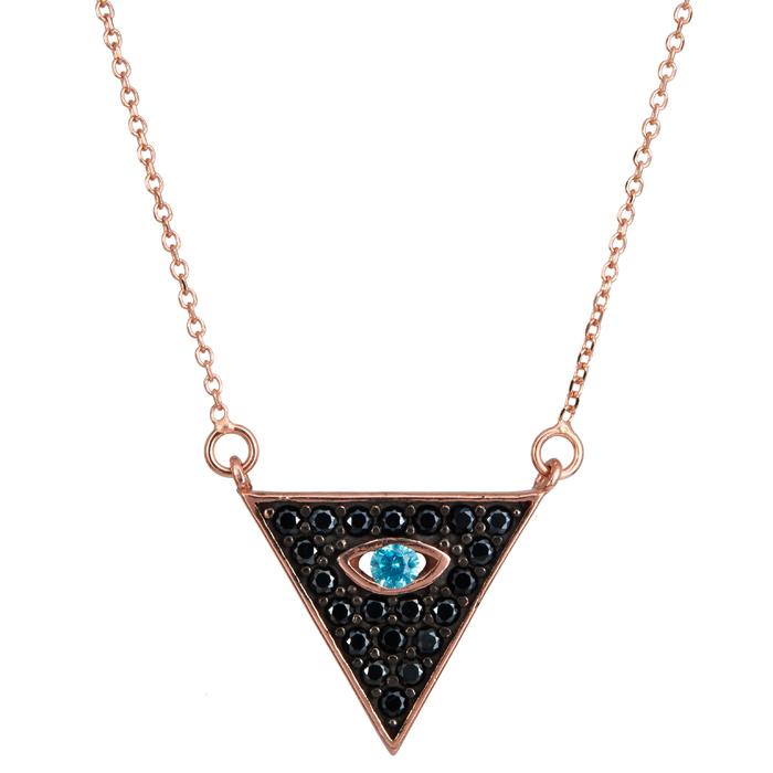 Ροζ gold κολιέ μαύρο τρίγωνο με μάτι 9Κ 024086 024086 Χρυσός 9 Καράτια