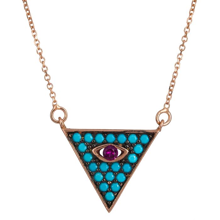 Ροζ gold κολιέ τρίγωνο με μάτι 9Κ 024087 024087 Χρυσός 9 Καράτια