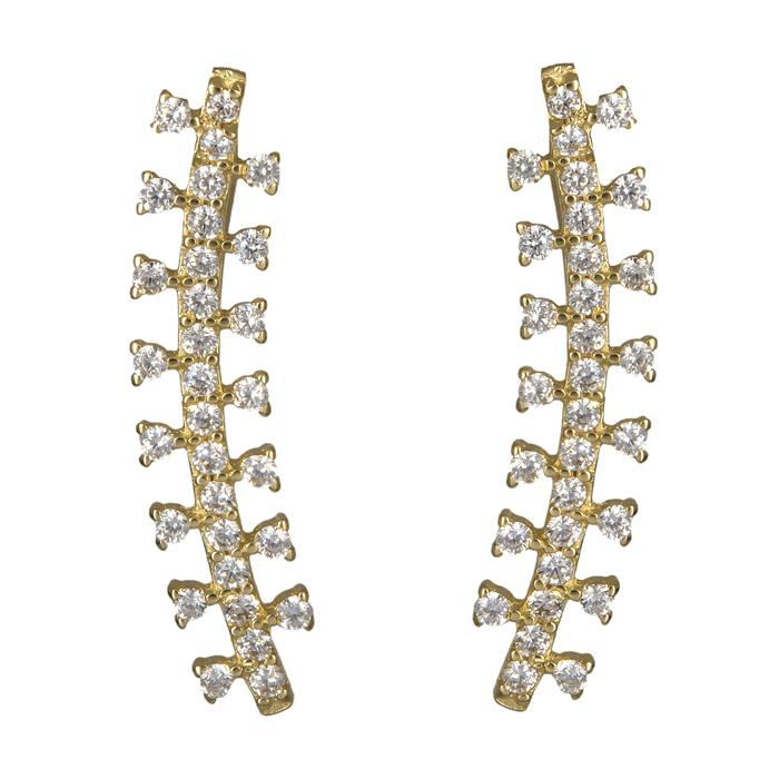 Χρυσά γυναικεία σκουλαρίκια 14Κ με ζιργκόν 024088 024088 Χρυσός 14 Καράτια