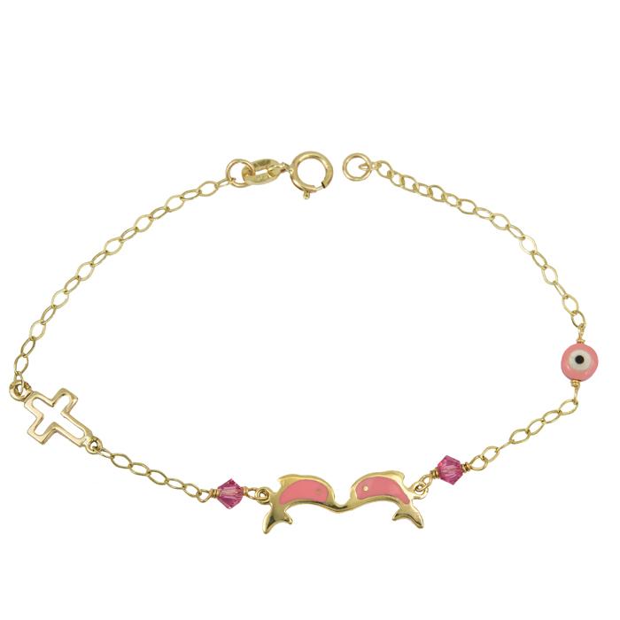 Χρυσό βραχιόλι δελφίνια με σταυρουδάκι για κορίτσι 14K 024095 024095 Χρυσός 14 Καράτια