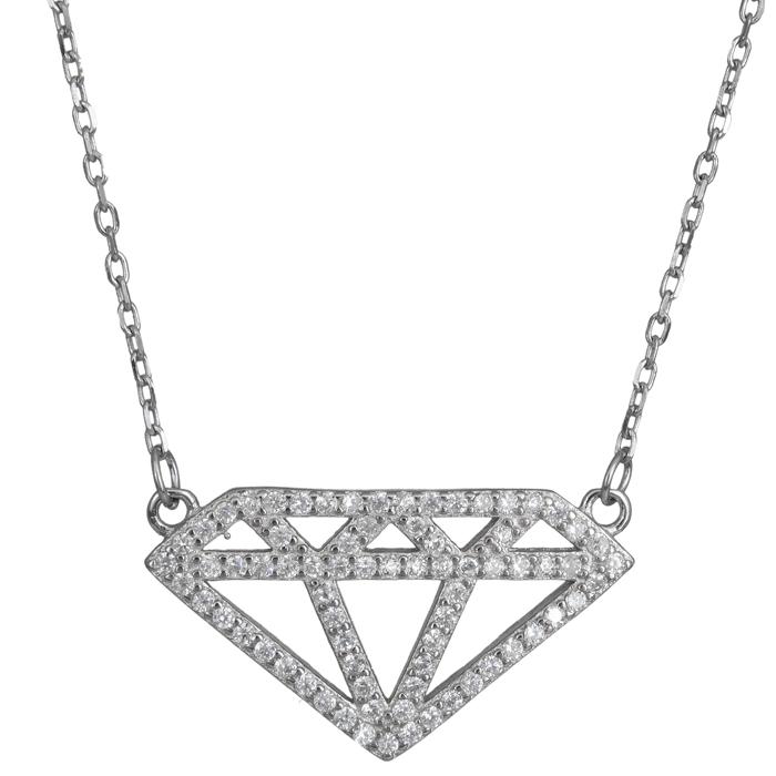 Ασημένιο κολιέ διαμάντι 925 024164 024164 Ασήμι