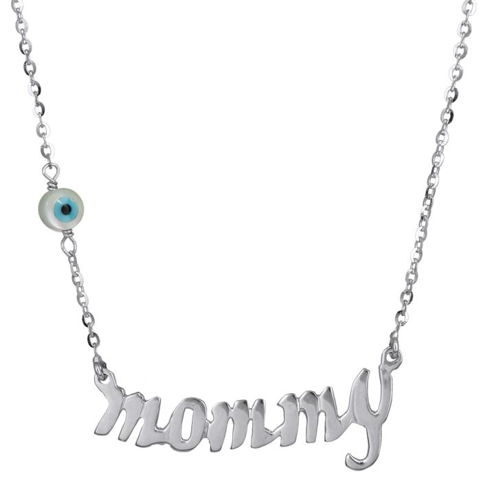 Λευκόχρυσο κολιέ mommy με ματάκι 14Κ 024165 024165 Χρυσός 14 Καράτια χρυσά κοσμήματα κολιέ