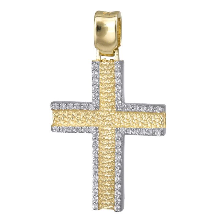 Σταυροί Βάπτισης - Αρραβώνα Χρυσός γυναικείος σταυρός με ζιργκόν 14Κ 024175 024175 Γυναικείο Χρυσός 14 Καράτια