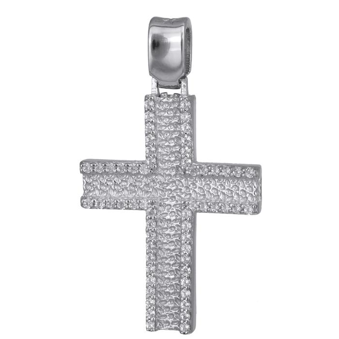 Σταυροί Βάπτισης - Αρραβώνα Λευκόχρυσος σταυρός Κ14 024176 024176 Γυναικείο Χρυσός 14 Καράτια
