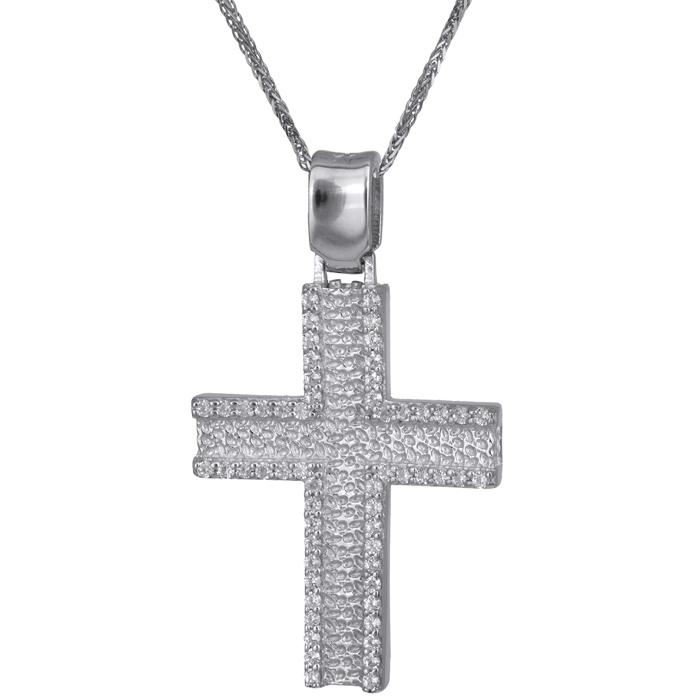 Βαπτιστικοί Σταυροί με Αλυσίδα Λευκόχρυσος γυναικείος σταυρός με αλυσίδα Κ14 024176C 024176C Γυναικείο Χρυσός 14 Καράτια