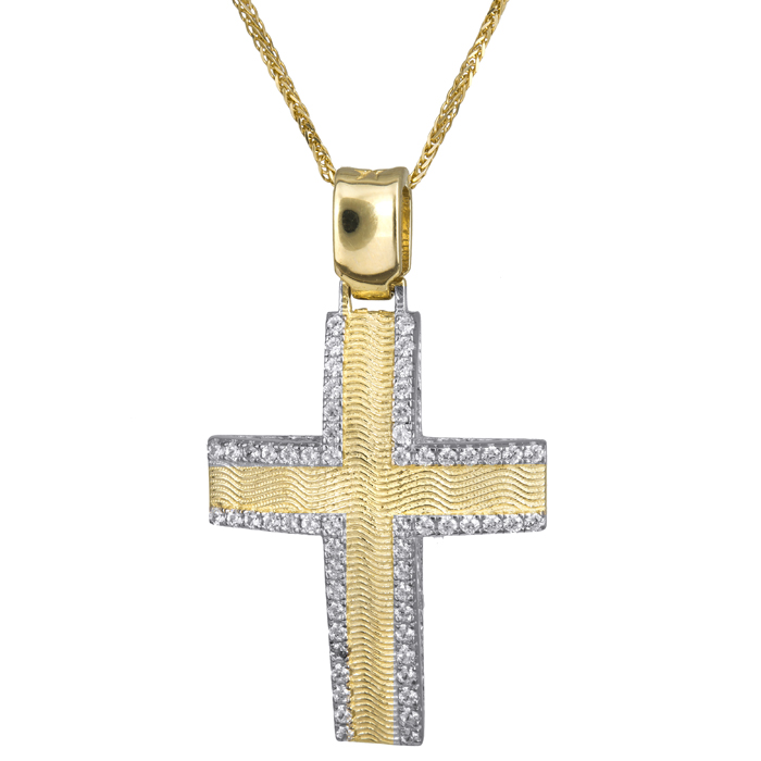 Βαπτιστικοί Σταυροί με Αλυσίδα Χρυσός γυναικείος σταυρός ανάγλυφος με καδένα 14Κ 024177C 024177C Γυναικείο Χρυσός 14 Καράτια