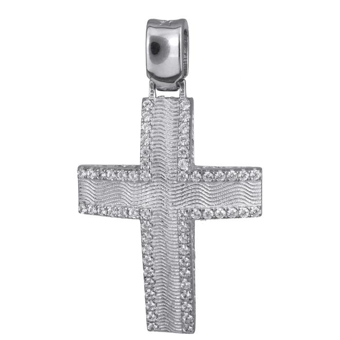 Σταυροί Βάπτισης - Αρραβώνα Λευκόχρυσος βαπτιστικός σταυρός Κ14 024178 024178 Γυναικείο Χρυσός 14 Καράτια