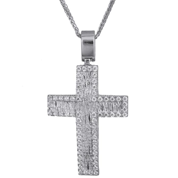 Βαπτιστικοί Σταυροί με Αλυσίδα Λευκόχρυσος σταυρός με αλυσίδα Κ14 024180C 024180C Γυναικείο Χρυσός 14 Καράτια