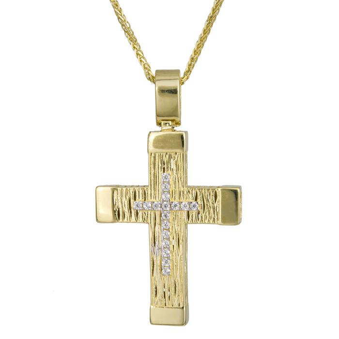 Βαπτιστικοί Σταυροί με Αλυσίδα Γυναικείος σταυρός Κ14 με ζιργκόν C024181 024181C Γυναικείο Χρυσός 14 Καράτια