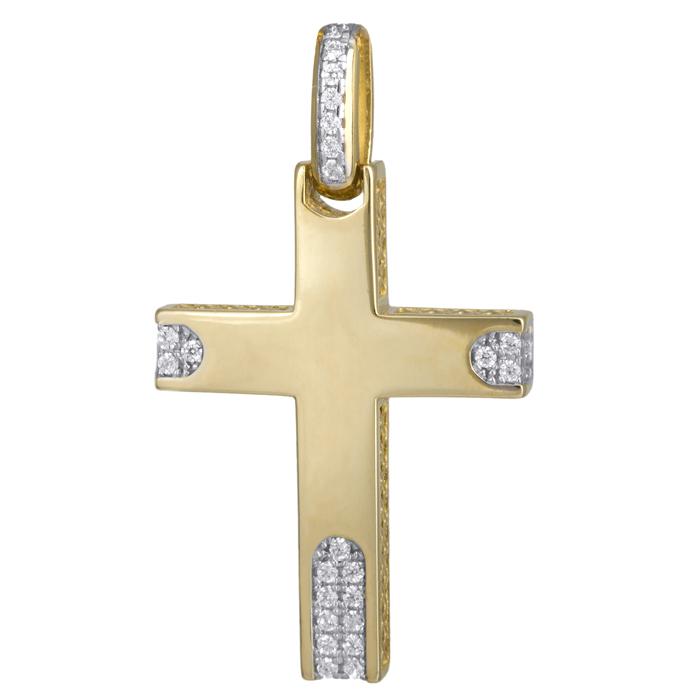 Σταυροί Βάπτισης - Αρραβώνα Γυναικείος σταυρός Κ14 με ζιργκόν 024183 024183 Γυναικείο Χρυσός 14 Καράτια