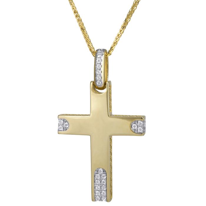 Βαπτιστικοί Σταυροί με Αλυσίδα Βαπτιστικός σταυρός με αλυσίδα Κ14 C024183 024183C Γυναικείο Χρυσός 14 Καράτια
