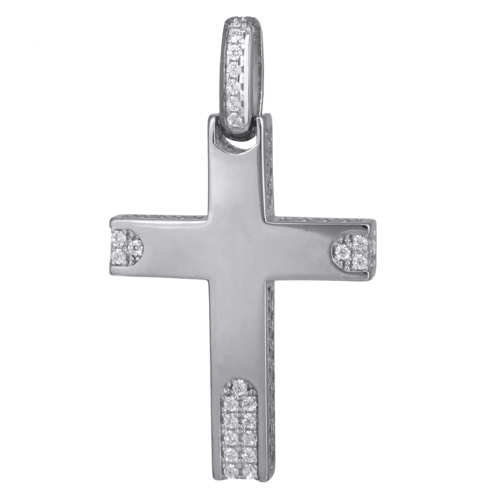 Σταυροί Βάπτισης - Αρραβώνα Λευκόχρυσος γυναικείος σταυρός με ζιργκόν 14Κ 024184 024184 Γυναικείο Χρυσός 14 Καράτια