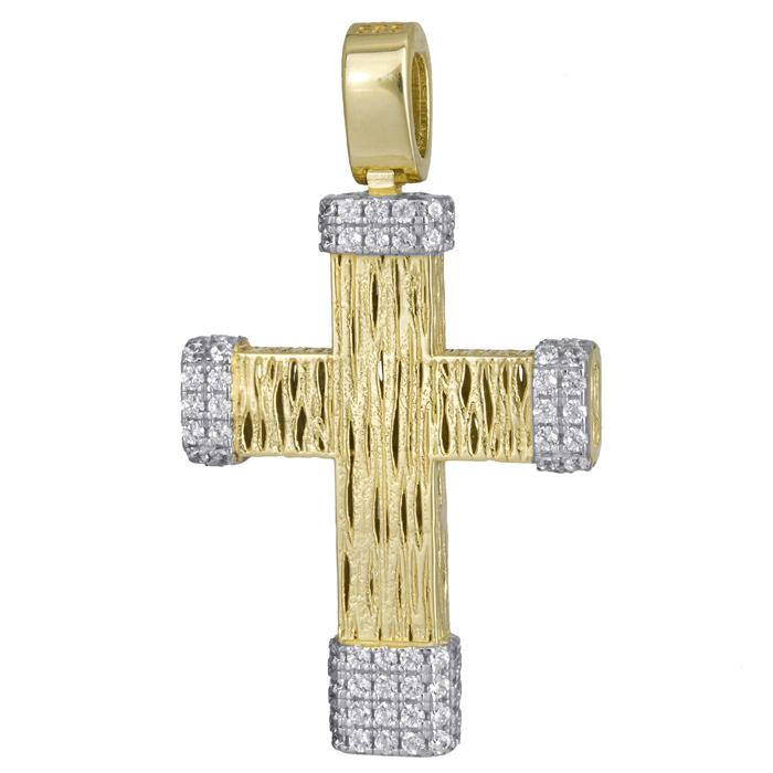 Σταυροί Βάπτισης - Αρραβώνα Χρυσός ανάγλυφος σταυρός 14Κ με ζιργκόν 024185 024185 Γυναικείο Χρυσός 14 Καράτια