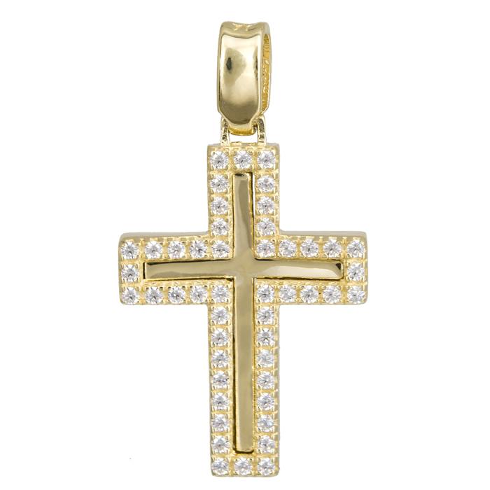 Σταυροί Βάπτισης - Αρραβώνα Χρυσός σταυρός 14Κ με ζιργκόν στο περίγραμμα 024187 024187 Γυναικείο Χρυσός 14 Καράτια