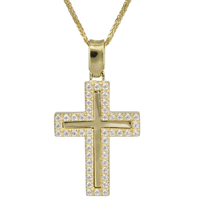 Βαπτιστικοί Σταυροί με Αλυσίδα Χρυσός γυναικείος σταυρός 14Κ με ζιργκόν στο περίγραμμα 024187C 024187C Γυναικείο Χρυσός 14 Καράτια