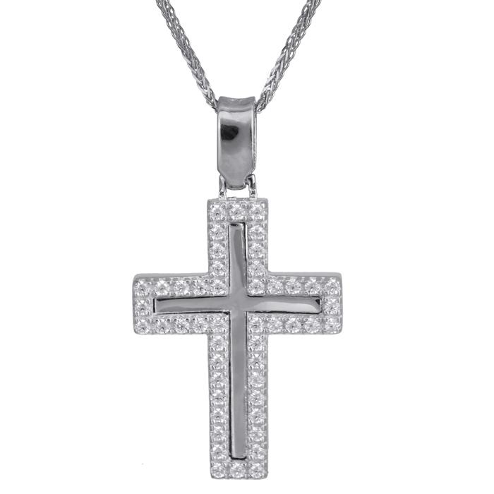 Βαπτιστικοί Σταυροί με Αλυσίδα Γυναικείος σταυρός με πέτρες 14Κ 024188C 024188C Γυναικείο Χρυσός 14 Καράτια