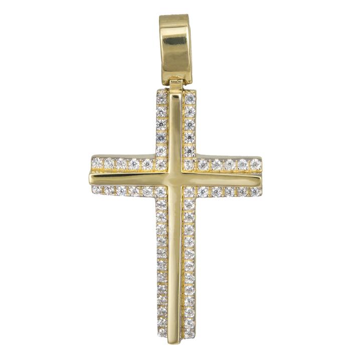 Σταυροί Βάπτισης - Αρραβώνα Γυναικείος χρυσός σταυρός με πέτρες 14Κ 024189 024189 Γυναικείο Χρυσός 14 Καράτια