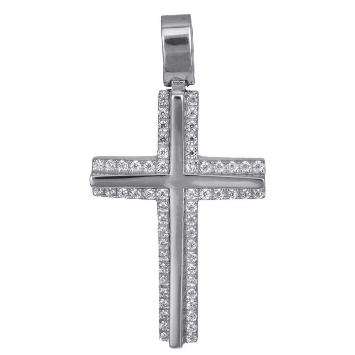 Σταυροί Βάπτισης - Αρραβώνα Λευκόχρυσος σταυρός γυναικείος με ζιργκόν 14Κ 024190 024190 Γυναικείο Χρυσός 14 Καράτια
