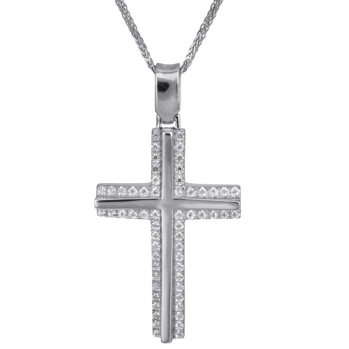 Βαπτιστικοί Σταυροί με Αλυσίδα Λευκόχρυσος σταυρός γυναικείος με ζιργκόν 14Κ 024190C 024190C Γυναικείο Χρυσός 14 Καράτια