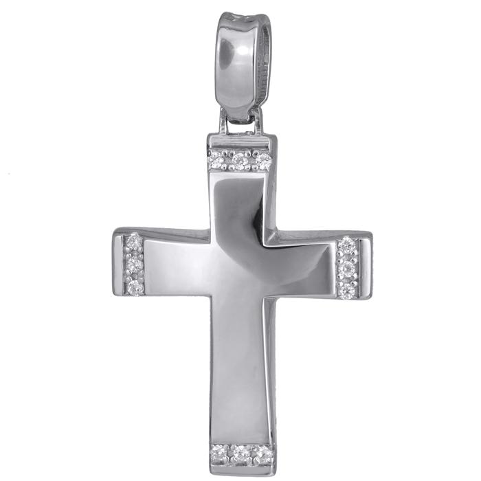 Σταυροί Βάπτισης - Αρραβώνα Λευκόχρυσος γυναικείος σταυρός Κ14 024192 024192 Γυναικείο Χρυσός 14 Καράτια