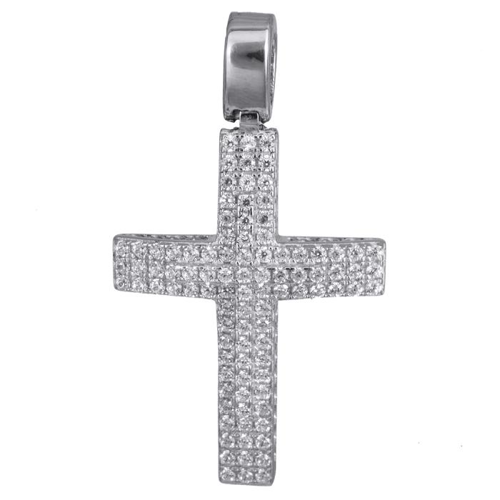 Σταυροί Βάπτισης - Αρραβώνα Γυναικείος σταυρός πετράτος λευκόχρυσος 14Κ 024194 024194 Γυναικείο Χρυσός 14 Καράτια
