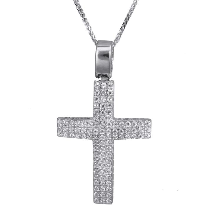 Βαπτιστικοί Σταυροί με Αλυσίδα Γυναικείος σταυρός πετράτος λευκόχρυσος 14Κ με καδένα 024194C 024194C Γυναικείο Χρυσός 14 Καράτια