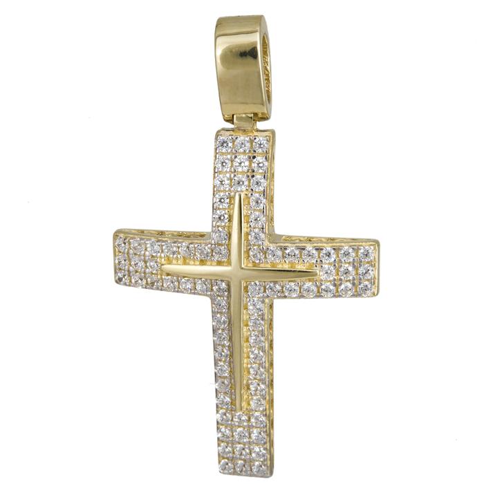 Σταυροί Βάπτισης - Αρραβώνα Χρυσός γυναικείος σταυρός 14Κ με ζιργκόν 024195 024195 Γυναικείο Χρυσός 14 Καράτια