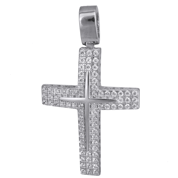 Σταυροί Βάπτισης - Αρραβώνα Λευκόχρυσος γυναικείος σταυρός 14Κ με ζιργκόν 024196 024196 Γυναικείο Χρυσός 14 Καράτια