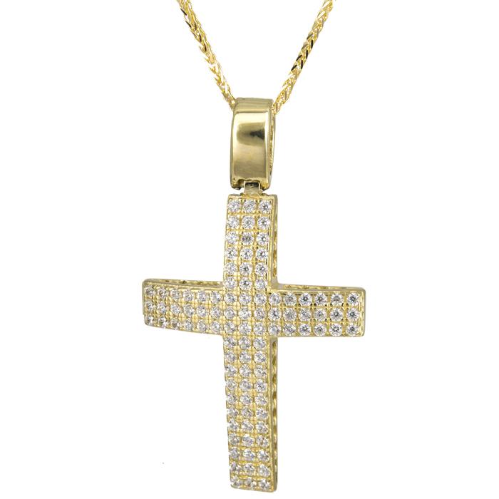 Βαπτιστικοί Σταυροί με Αλυσίδα Χρυσός πετράτος σταυρός γυναικείος με αλυσίδα 14Κ 024197C 024197C Γυναικείο Χρυσός 14 Καράτια