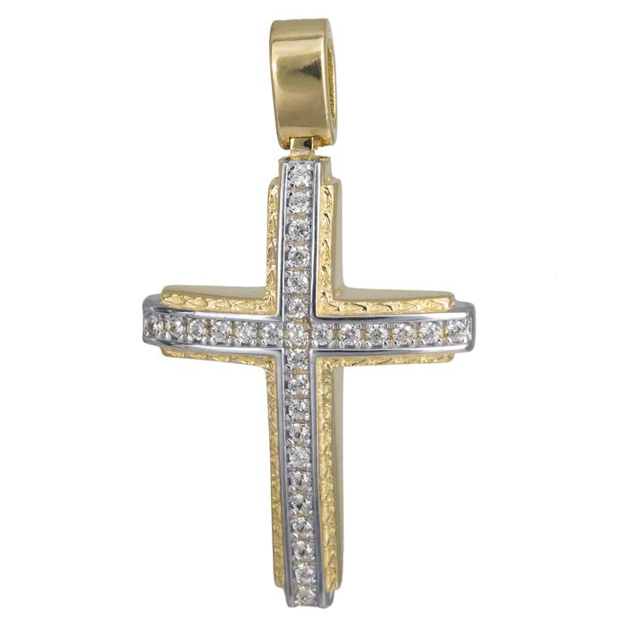 Σταυροί Βάπτισης - Αρραβώνα Σταυρός δίχρωμος ανάγλυφος 14Κ με ζιργκόν 024199 024199 Γυναικείο Χρυσός 14 Καράτια