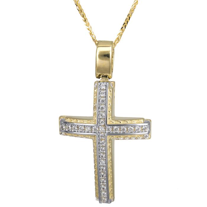 Βαπτιστικοί Σταυροί με Αλυσίδα Σταυρός δίχρωμος ανάγλυφος 14Κ με καδένα 024199C 024199C Γυναικείο Χρυσός 14 Καράτια