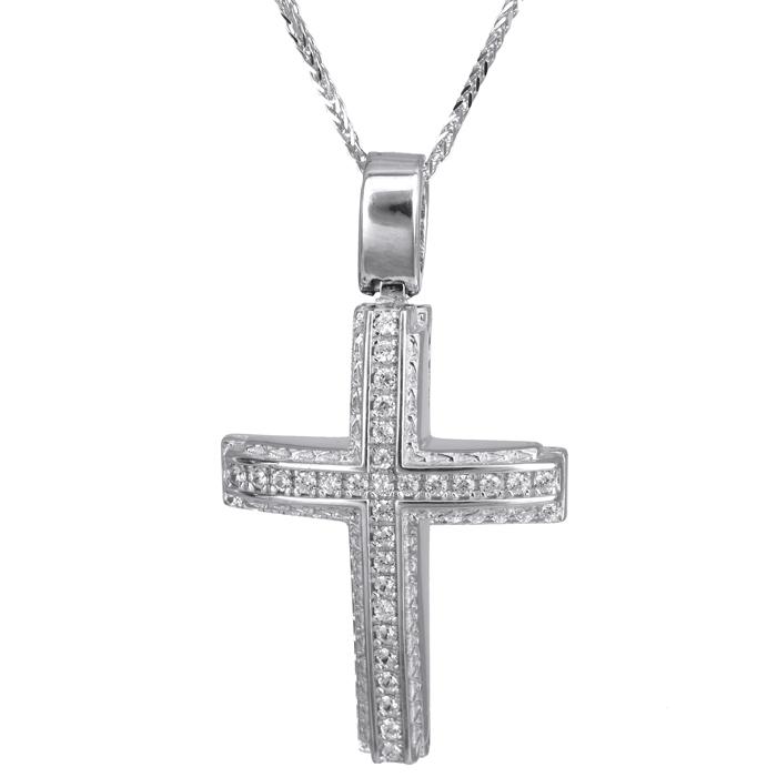 Βαπτιστικοί Σταυροί με Αλυσίδα Λευκόχρυσος γυναικείος σταυρός Κ14 024200C 024200C Γυναικείο Χρυσός 14 Καράτια