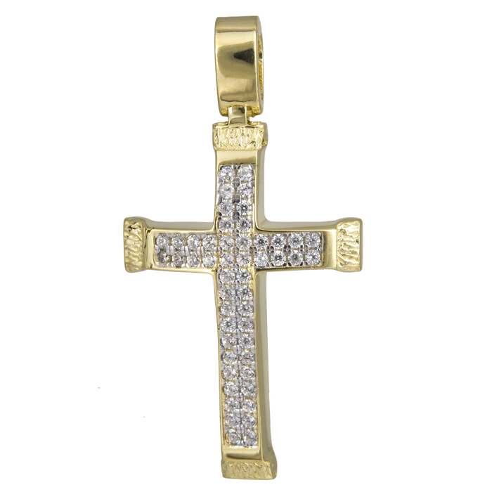 Σταυροί Βάπτισης - Αρραβώνα Γυναικείος σταυρός με πέτρες 14Κ 024201 024201 Γυναικείο Χρυσός 14 Καράτια