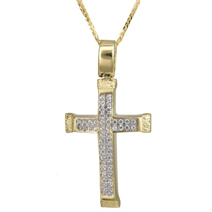 Βαπτιστικοί Σταυροί με Αλυσίδα Χρυσός σταυρός με πέτρες 14Κ 024201C 024201C Γυναικείο Χρυσός 14 Καράτια